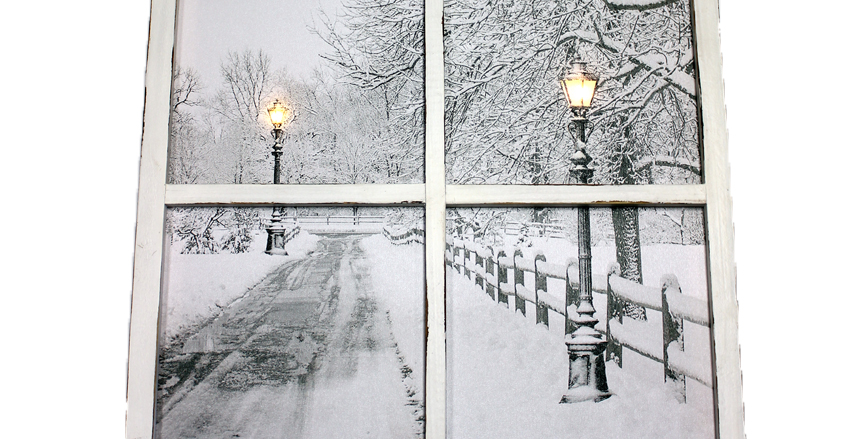 """Picture - LED Window Lampost Canvas -12.75"""" H x 19.75"""" W"""