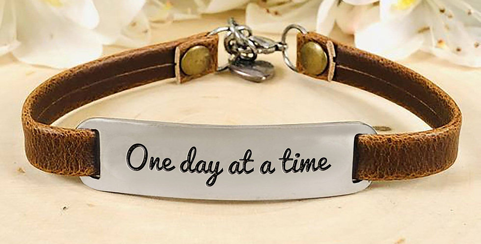 """One Day At A Time"" Engraved Leather Bracelet"