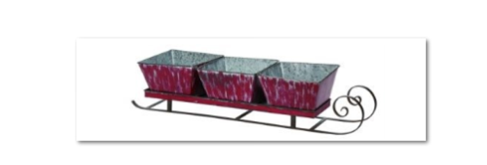 Red Metal Sleigh w/ 3 Containers  (5631)