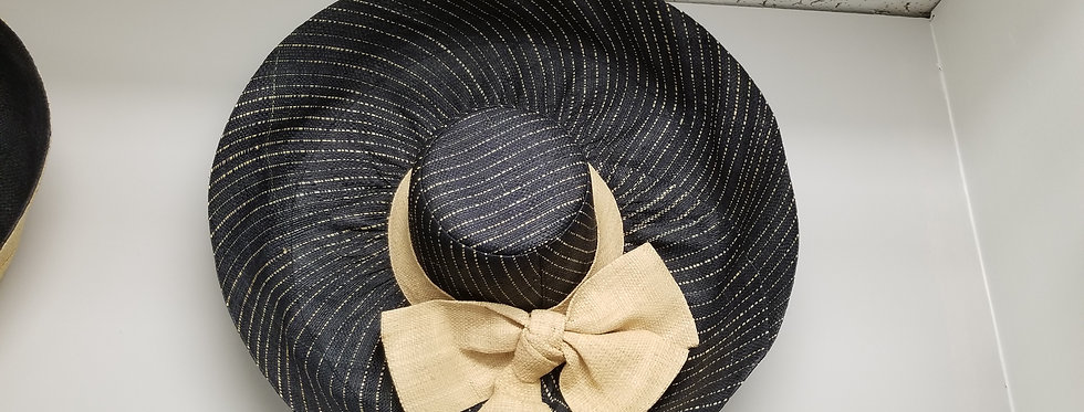 Wide Brim Blue Stripped Hat with Beige Bow  (995530)