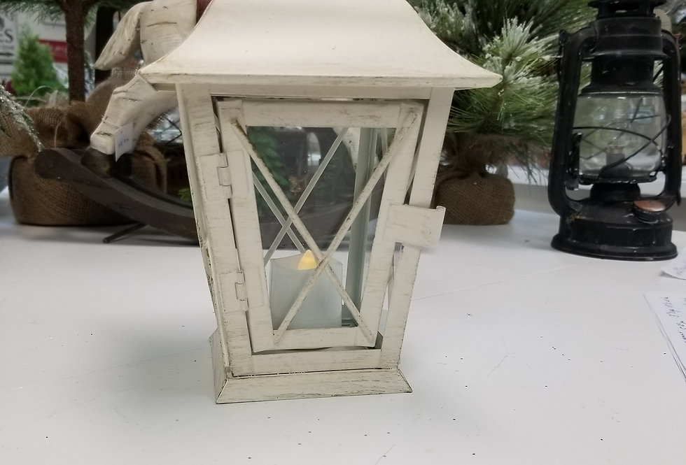 "Metal Lantern - Antique White - 9.5"" H x 5.5 W  (43519)"