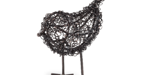 "Metal Curly Bird - 6""H x 6""L"