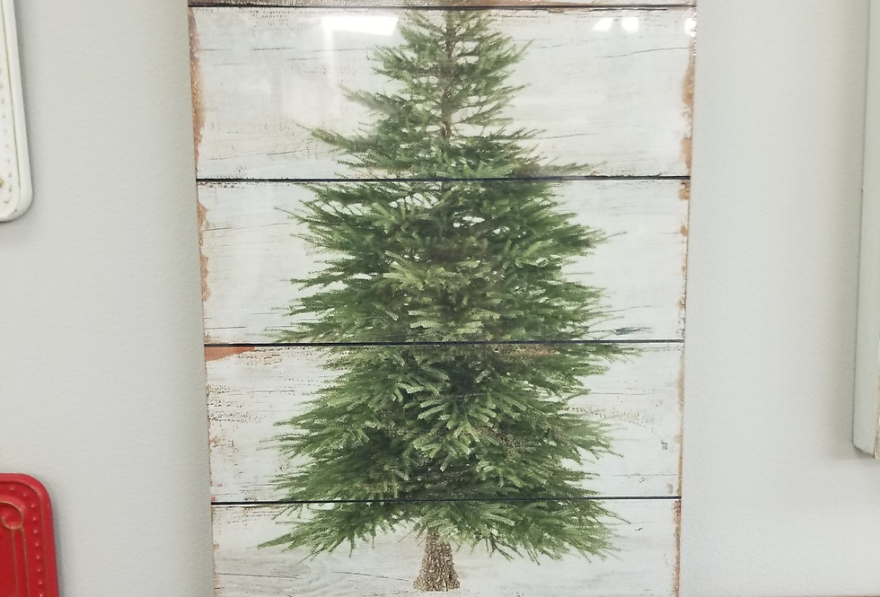 "Sign - Wall Art Green Tree & Red Merry Christmas -  22""  (4916)"
