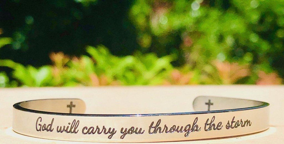 """God Will Carry You"" Engraved Silver Tone Cuff"