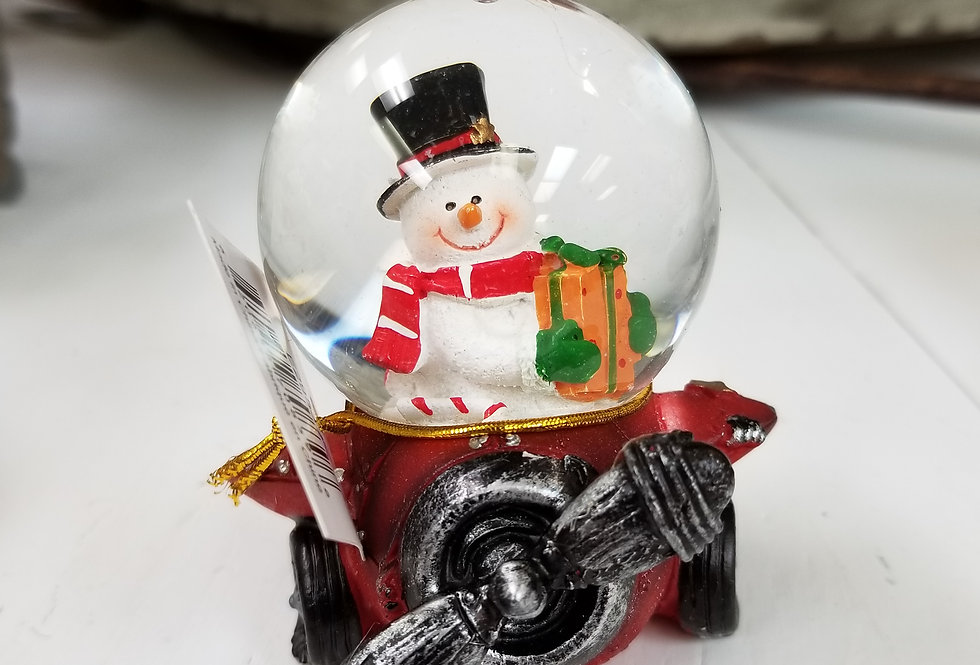 "Snow Globe - Snowman in Red Plane - 3"" x 2.75"" - (2953R)"