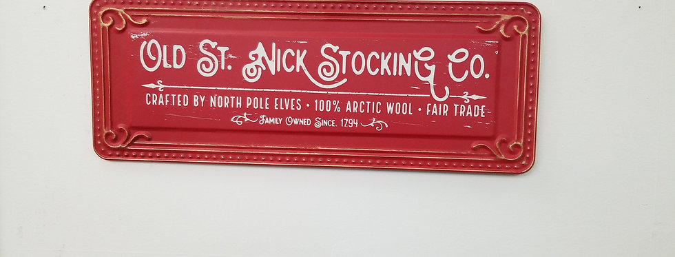 """Sign - Old St. Nick Stocking Co. - 19"""" x 7"""""""