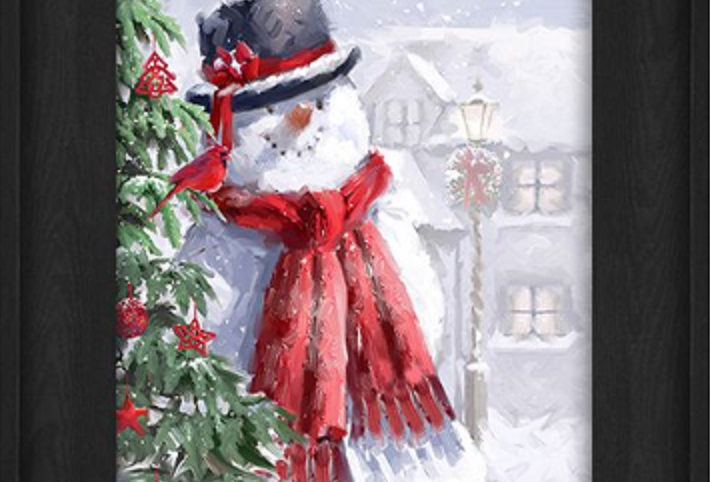 """Picture - Snowman Outside by Christmas Tree - 6"""" x 8""""  (167003)"""