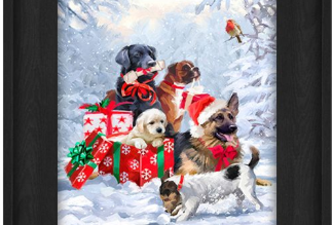 """Picture - 5 Dogs Sitting by Gifts - 6"""" x 8""""  (129585)"""