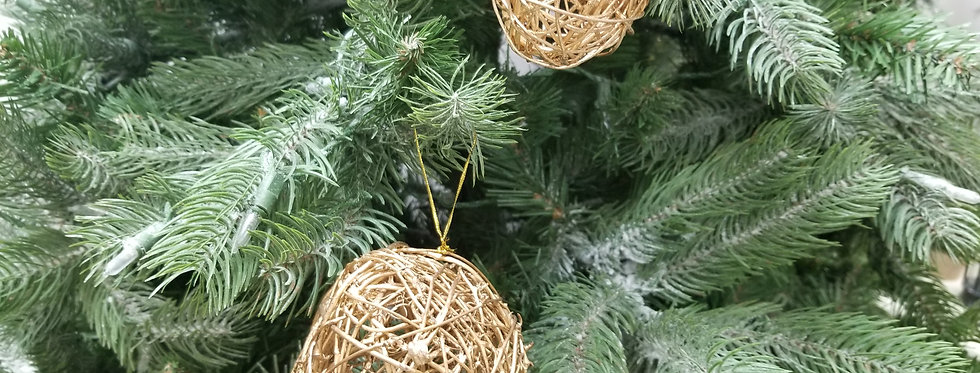 "Gold Wicker Ball Ornaments  - 3""  (881)"
