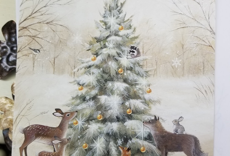Christmas Cards - Winter Forest Animals Surround Christmas Tree-16 cards (3377)
