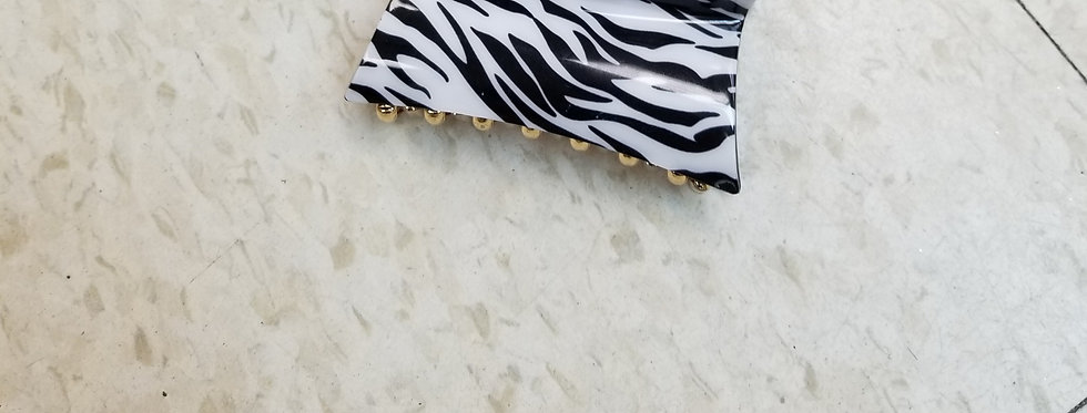 "Hair Clip - Zebra Black and White - 4""   (78)"