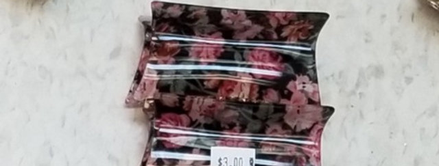 "Hair Clip - Black with Red and Pink Floral  - 4""  (62)"