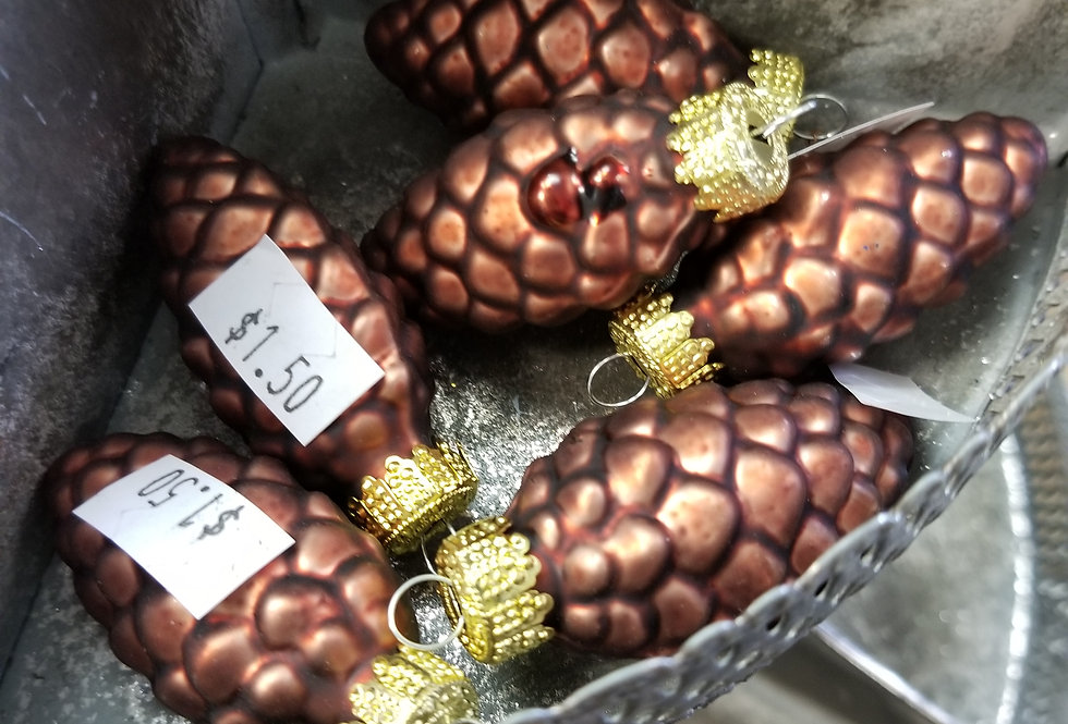 "Bronze Pinecone w/gold top - 2""    (B1)"