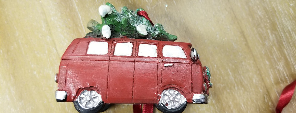 "Resin Red Bus Ornament  - 3.5""L x 1.5"" W   (2121)"