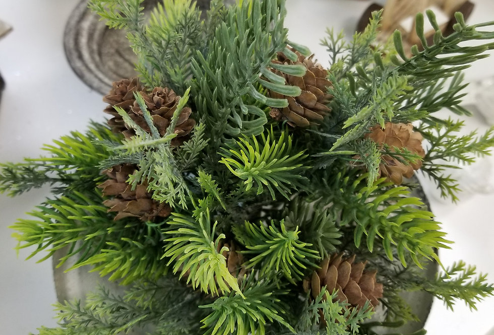 "Pick - Frosted Mixed greens w/pinecones - 13"" (81145)"