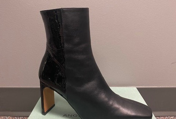 "Black High Heel Leather and Paton Boot - Heel is 3"" High"