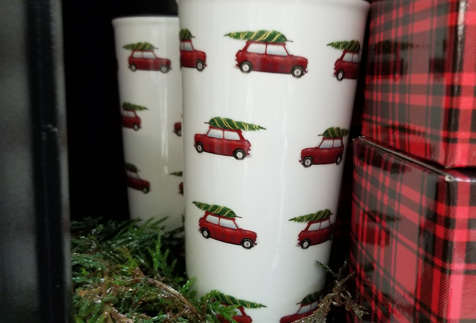 Cozy Porcelain Travel Mug w/Lid - Cars w/Tree  (995502)