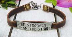 """Be Stronger Than the Storm"" Brown Leather Bracelet"