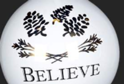 "White/Gold/Black Ball - BELIEVE Ornament – 5""  (994494)"