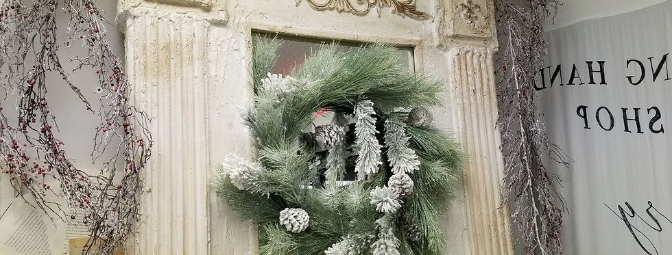 "Wreath - Frosted Pine w/pinecones - 24"" (93339)"