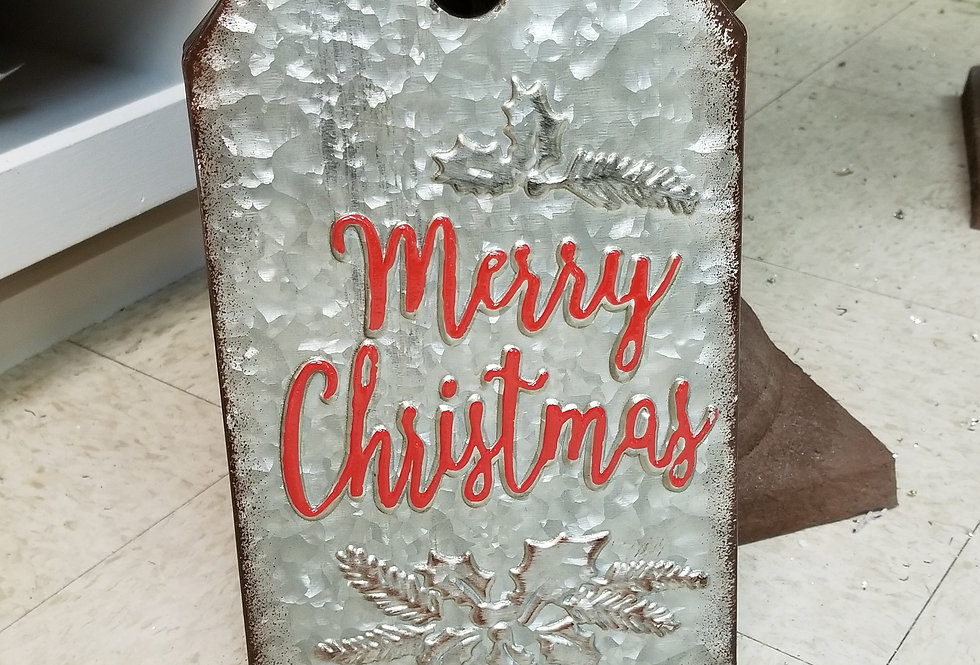 "Metal Gift Tag - Merry Christmas - Grey and Red - 12"" x 7""  (66131M)"