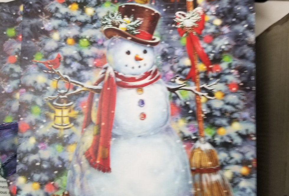 Christmas Cards - Snowman by Christmas Trees - 16 cards