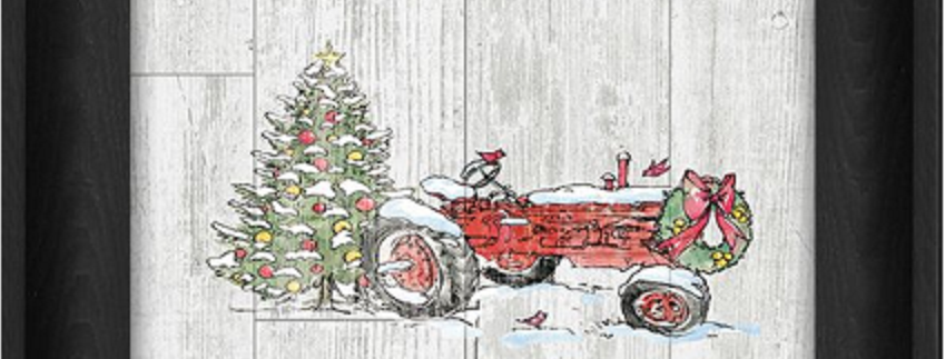 "Picture - Red Tractor and Tree - 6"" x 8""  (27903)"