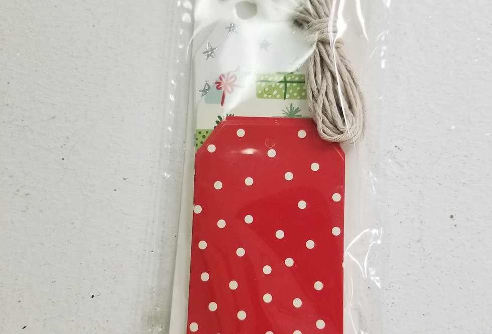 Gift Tags - Red with White Dots - Pk of 12  (455095)