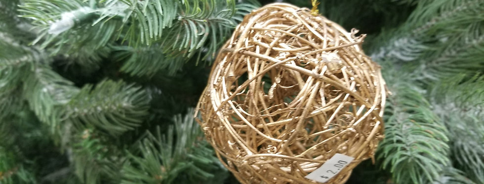 "Gold Wicker Ball Ornaments  - 6""  (888)"