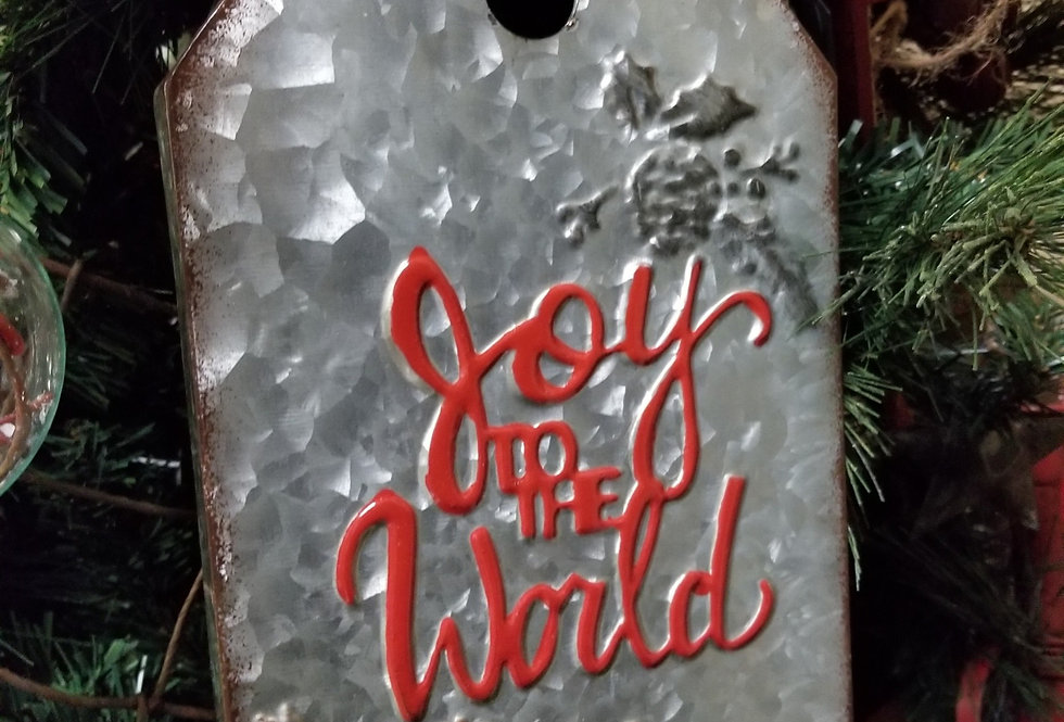 """Metal Gift Tag - Joy to the World - Grey and Red - 12"""" x 7""""  - (66131J)"""