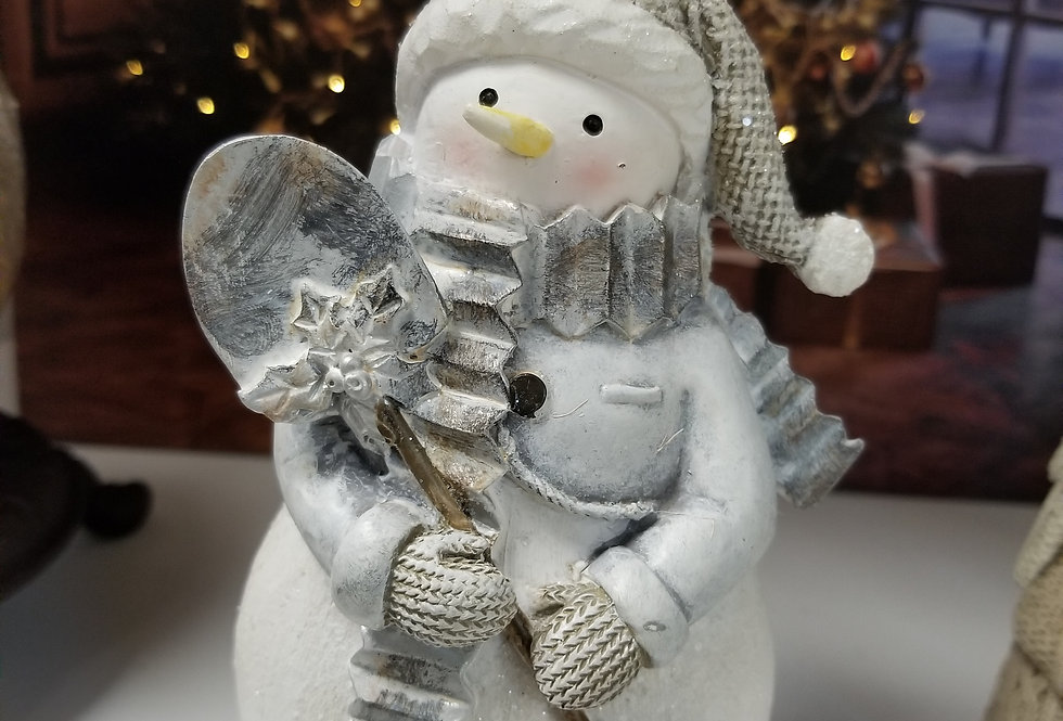 """Resin Snowman with Shovel  - 5.25""""H (44663)"""