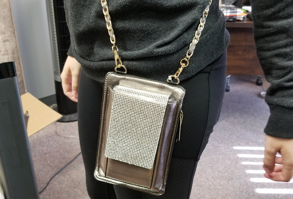 Cell Phone Cross Body Bag - Pewter with Bling
