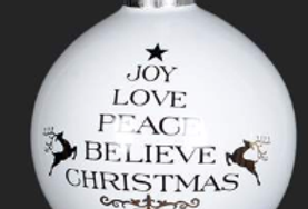 "White/Gold/Black Ball - Joy Love Peace Ornament – 3""  (994496)"