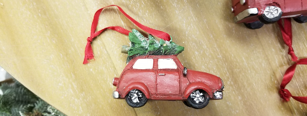 "Resin Red Car Ornament - 3.5"" x 2"" x 2.5""  (0103)"