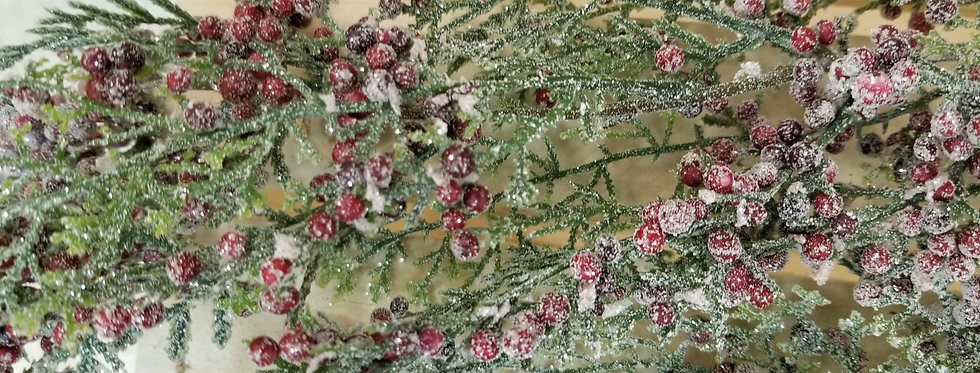 """Pick - Frosted Glittered Juniper w/Red Berries - 46"""" (80994)"""