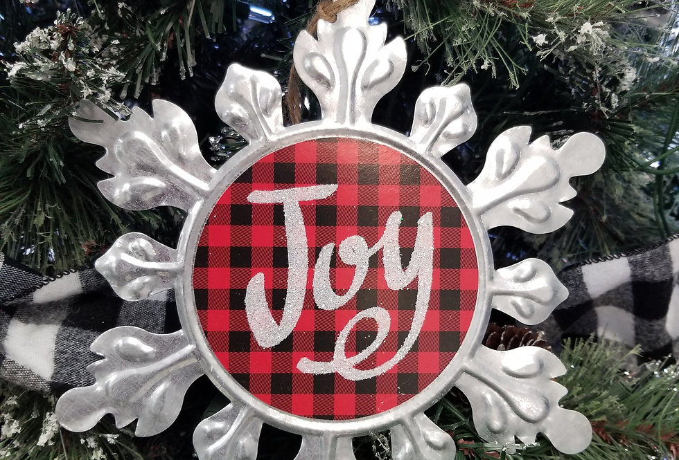 """Silver and Red Joy Snowflake - 9.5""""   (995524)"""