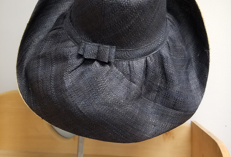 Wide Brim Stylish Sun Hat Black/Natural with Bow  (995531)