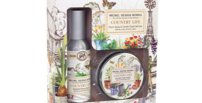 Country Life Room Spray and Travel Candle Set