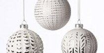 """Glass Ball Ornament - Silver and White - 4.5""""  (995528)"""