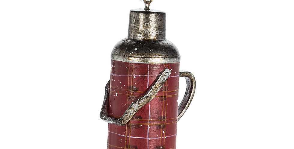 "Plaid Thermos Ornament - 4""H"