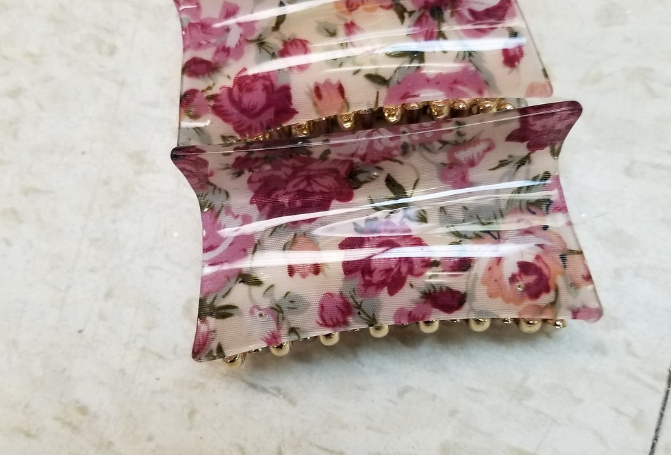 "Hair Clip - Beige with Pink Floral  - 4""   (74)"