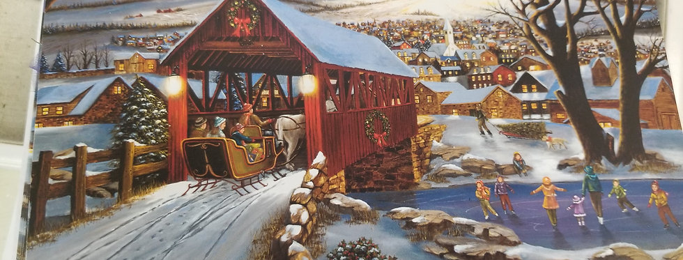 Christmas Cards - Winter Sled Ride over the covered Bridge - 16 cards (3366)
