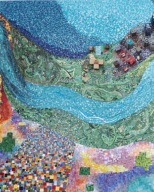 Abstract art of Edmonton, and aerial view of the city done in a mosaic style.