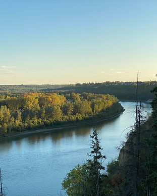 A bend in the North Saskatchewan River with trees on either side.
