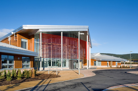 timber and zinc clad modern school entrance exterior architectural photography