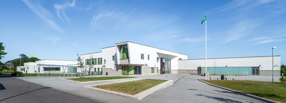 white rendered modern school exterior education photography