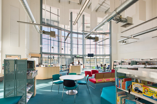 interior architectural photography: glazed modern library exposed services