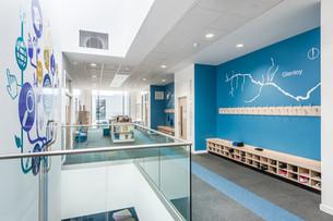 modern school circulation atrium interior school photography