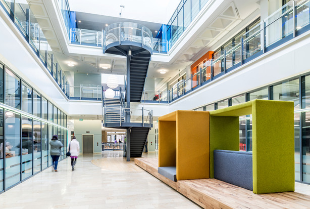 interior photography of modern refurbished office atrium with breakout spaces