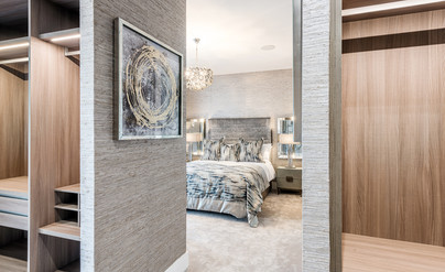 Ambassador-Homes-luxury-dressing-area-looking-into-bedroom-showhome-photography